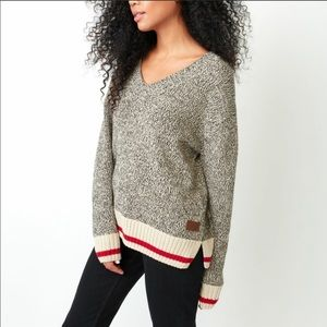 Root Cabin V Neck Sweater Salt N Pepper Cotton